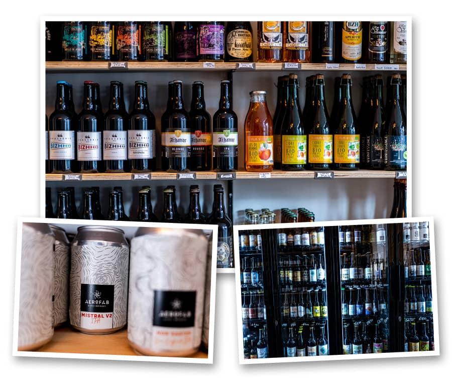 sélection de bières bouteille locales et artisanales
